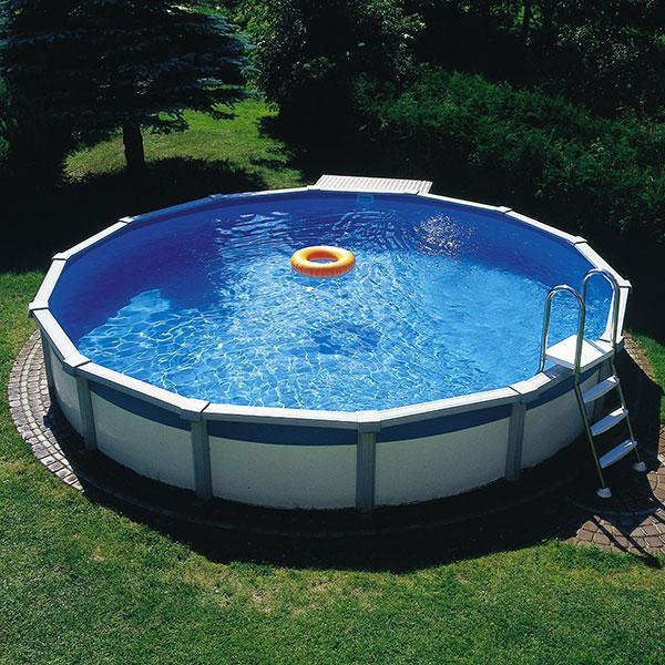 Schwimmbecken megazon 3 60 x 1 32m mit 15cm breitem for Stahlwandbecken rund 5 m