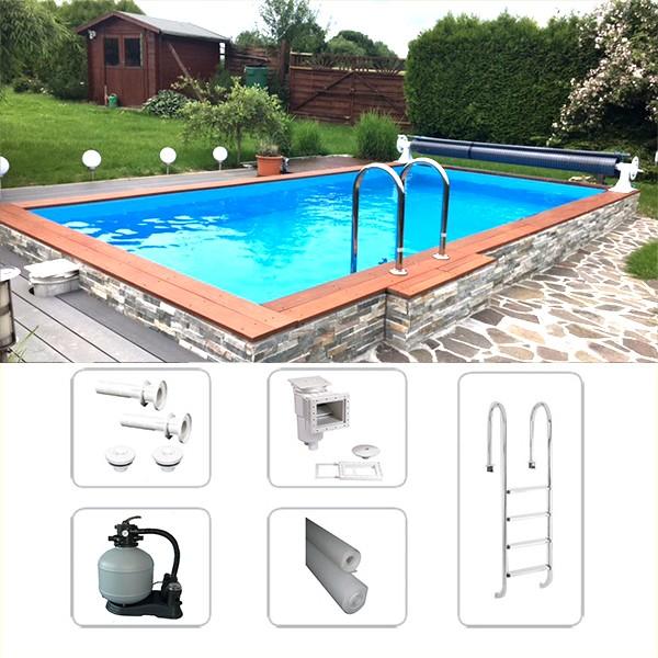 Rechteckpool, Styroporpool Schwimmbeckenset Saint-Tropez 8,00 x 4,00 x 1,50m inkl Bodenisolierung