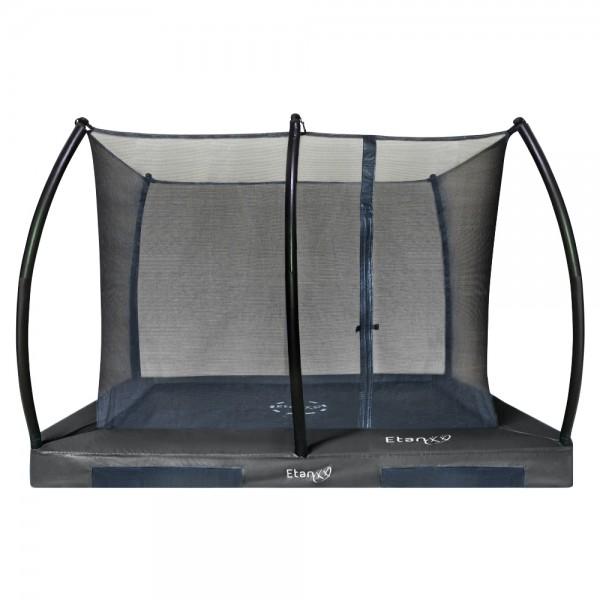 Bodentrampolin mit Netz rechteckig Etan Hi-Flyer Grau 230 x 310 cm