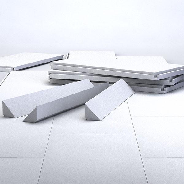 Bodenisolierung für Rundpool 6,30m aus Hakenfalzplatten inkl. Hohlkehle-Porozellecken und Kleber