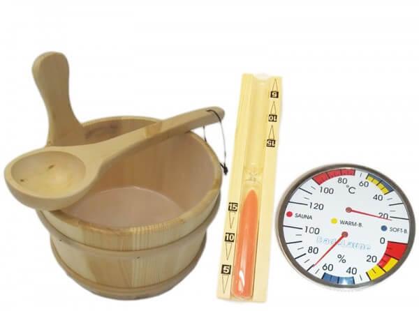 großes Saunaset Kübel, Kelle, Sauna-Thermo/Hygrometer