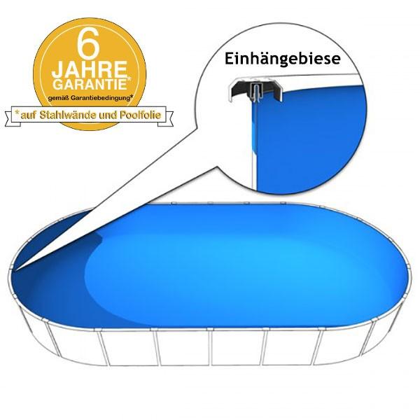 Poolinnenfolie oval 6,00 x 3,20 x 1,20m in 0,6mm mit Biese