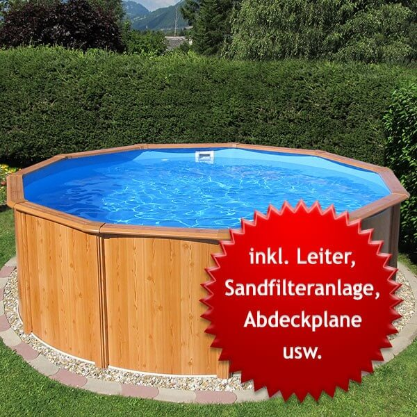 Stahlwandbecken-Set Gigazon-Woodstyle light 4,50 x 1,20m mit 15cm breitem Handlauf