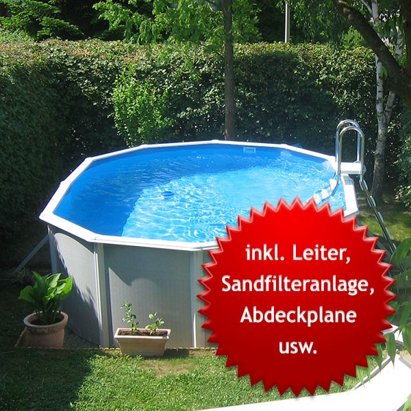 Aufstellbecken ovalbecken megazon light edition 5 40 x 3 for Stahlwandpool 90 tief