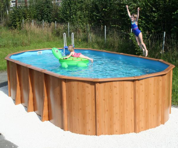 Stahlwandpool gigazon woodstyle 5 40 x 3 60 x 1 32m mit for Schwimmbecken oval aufstellbecken