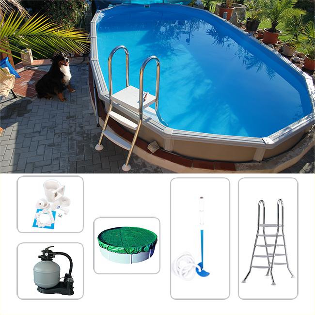 schwimmbeckenset megazon oval 5 40 x 3 60 x 1 32m f r. Black Bedroom Furniture Sets. Home Design Ideas
