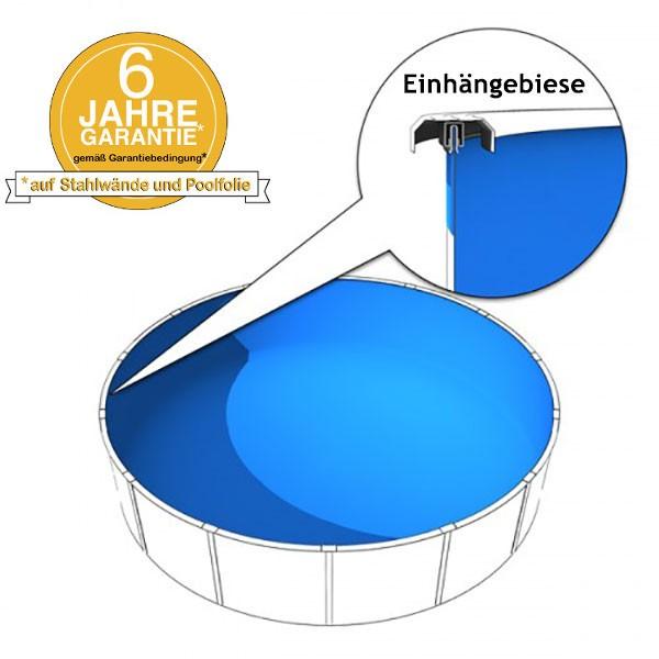 Schwimmbadfolie 7,50 x 1,50m in 0,8mm mit Biese