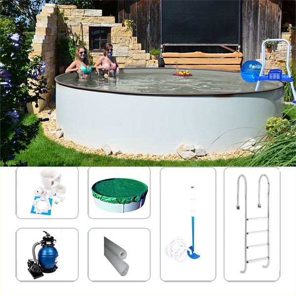 Gartenpool-Set Fun-Zon gray 5,00 x 1,50m